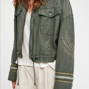 Free People Embellished Military Moss Green Jacket